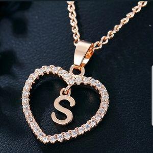 Gold Tone Alphabet Letter S Love Heart Necklace
